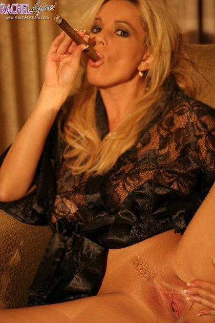 busty rachel hot milf smokes cigar