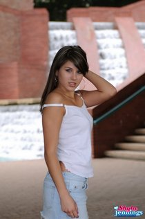 shyla jennings sexy waterfall pictures-jean skirt2