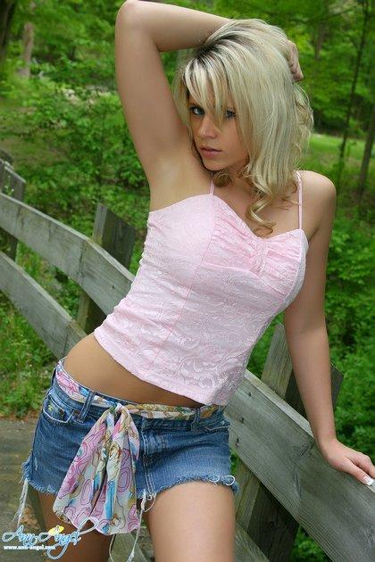 sexy blonde teen jean skirt pink top