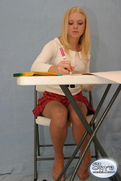 hot blonde teen naughty school girl plaid skirt4