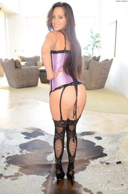 talia shepard purple lingerie black-stockings 1