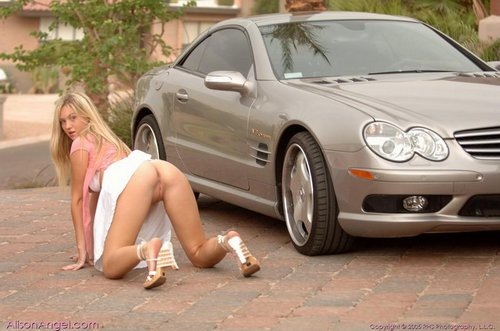 alison angel shows snatch poses on sexy mercedes 12
