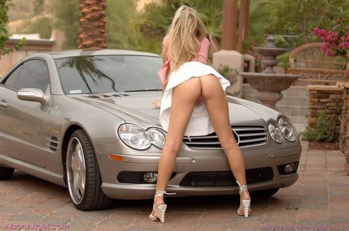 alison angel shows snatch poses on sexy mercedes 14