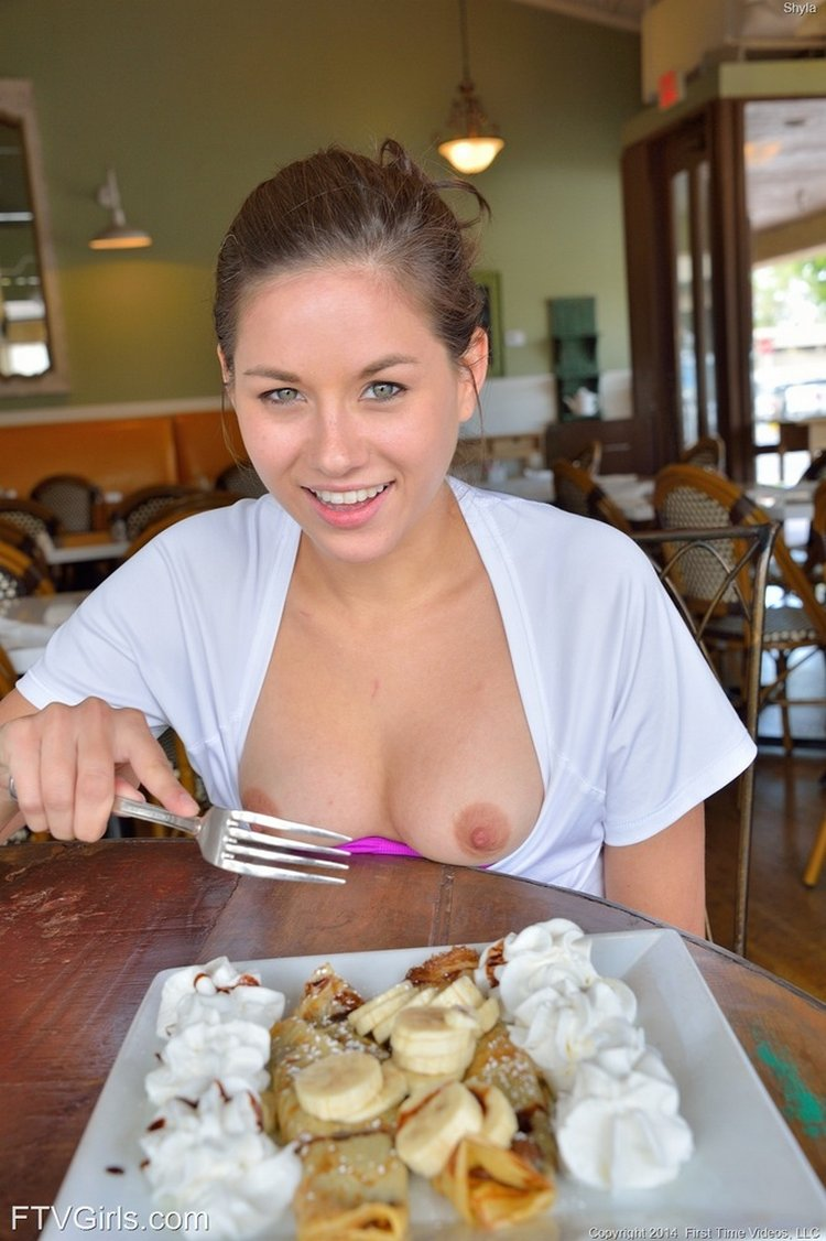 shayla publich nudity eating desert in restaurant with boobies out